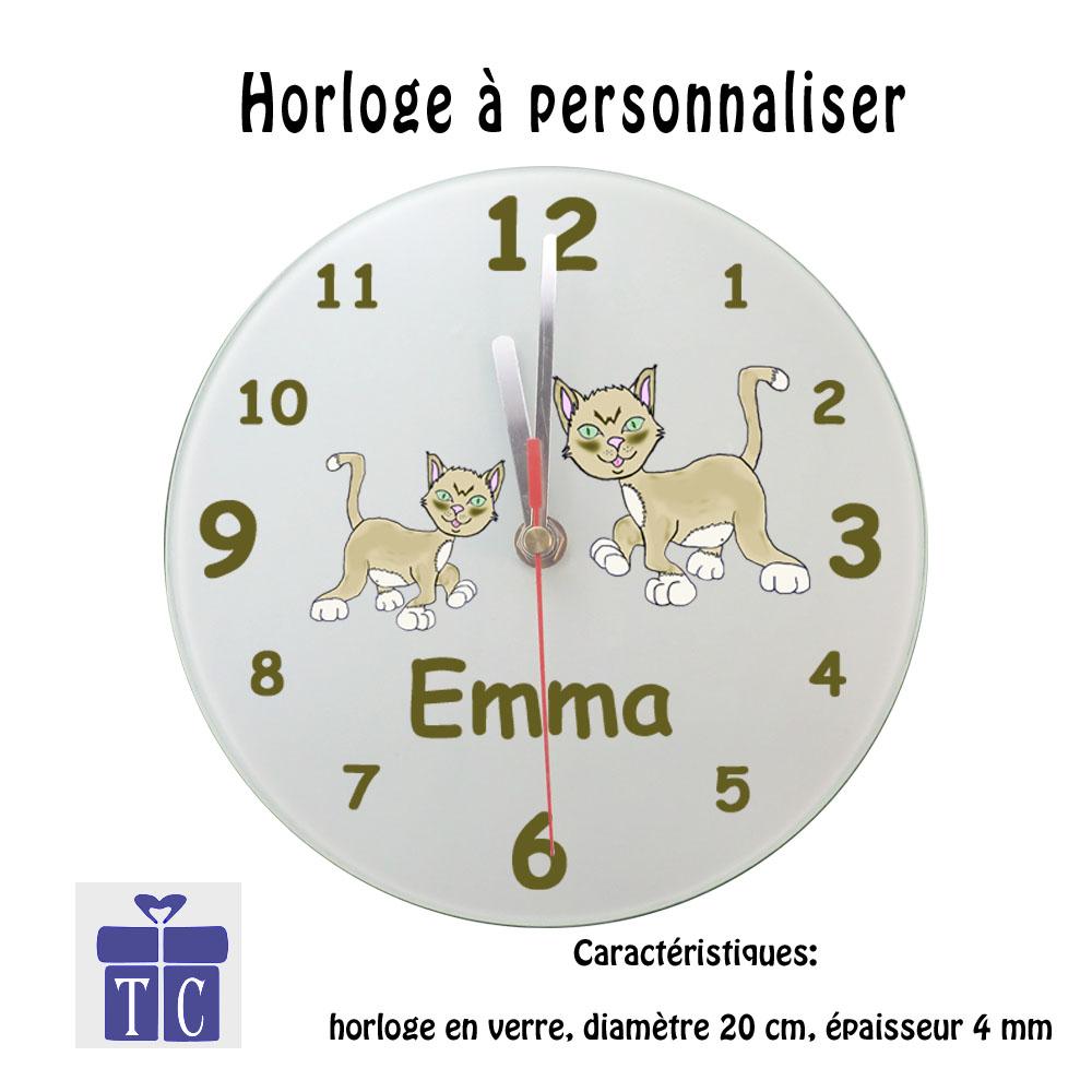 Horloge chat Emma à personnaliser