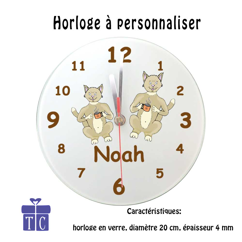 Horloge Chat tasse à personnaliser