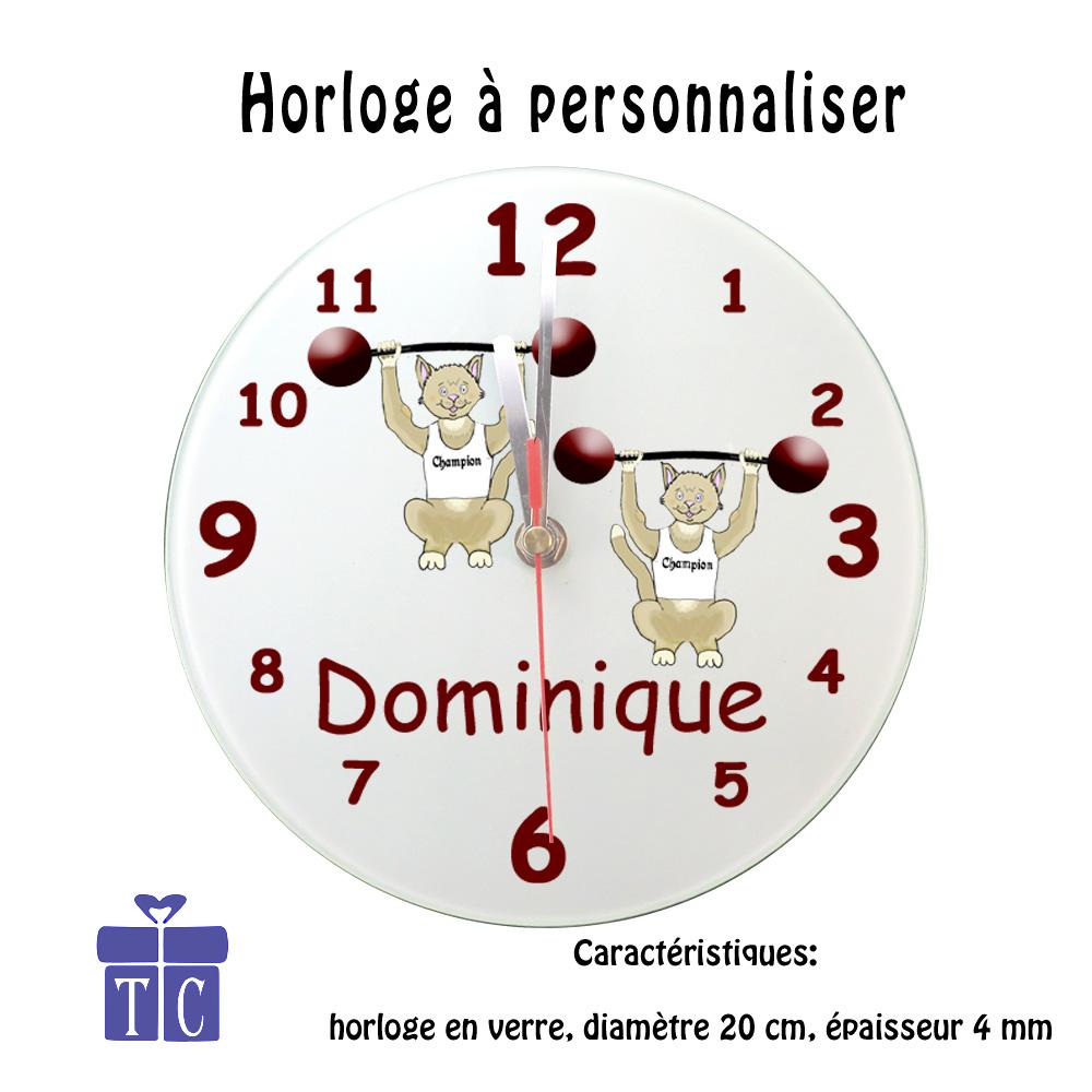 Horloge Chat Haltérophile