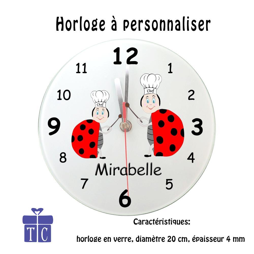 Horloge Coccinelle chef de cuisine