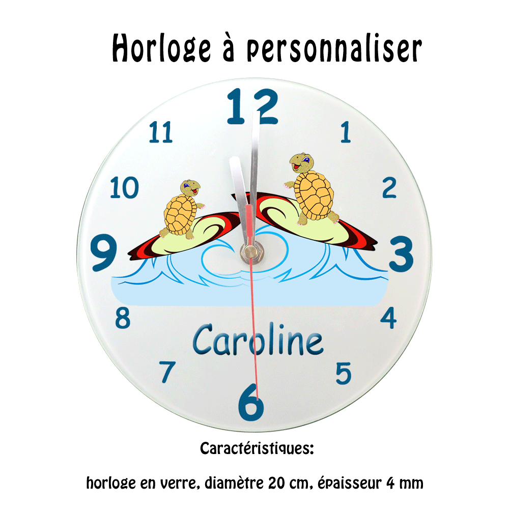 Horloge Tortue surf personnalisable avec prénom exemple Caroline