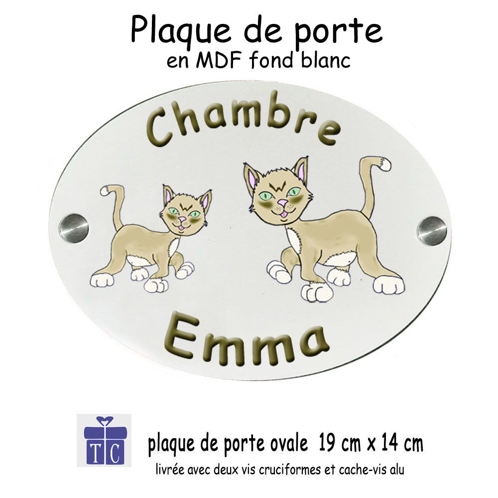Plaque de Porte Chat Emma à personnaliser
