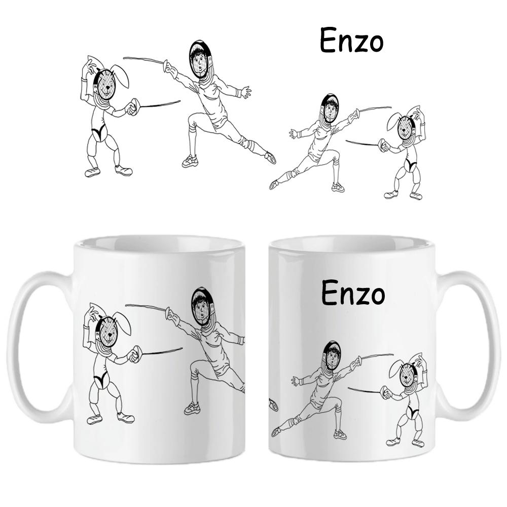 Mug Escrime personnalisé avec un prénom exemple Enzo