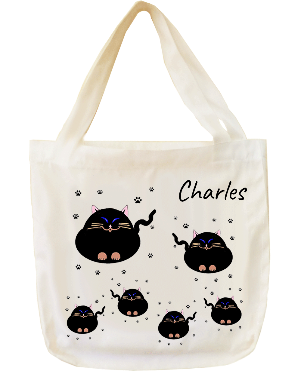 Tote Bag Chat personnalisable exemple Charles