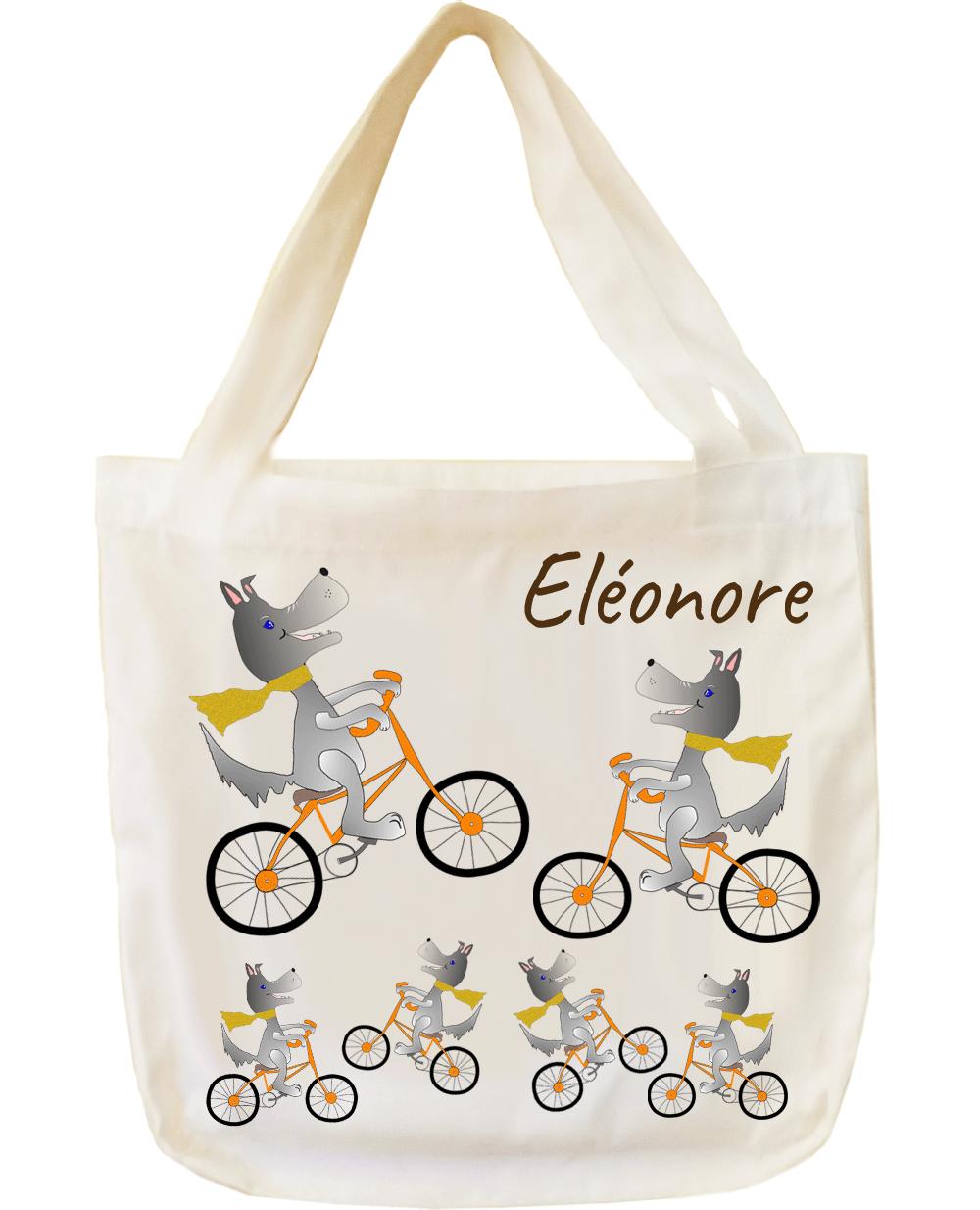 Tote Bags Chien à vélo