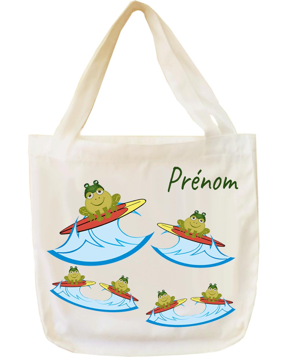 tote-bag;sac;cabas;texti;cadeaux;personnalisable;personnalisation;personnalise;prenom;animal;grenouille;surf;sport