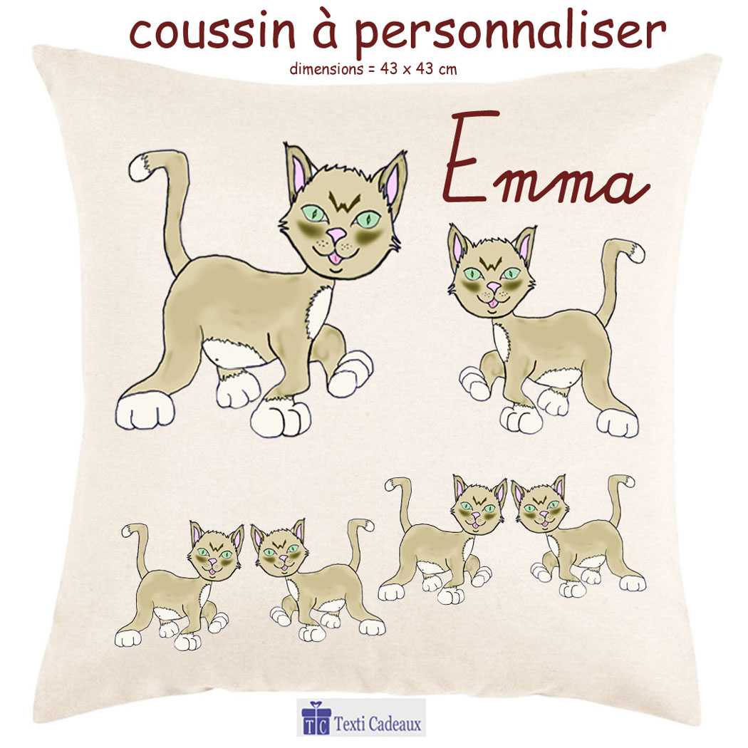 Coussin Chat Emma Personnalisable avec un Prénom