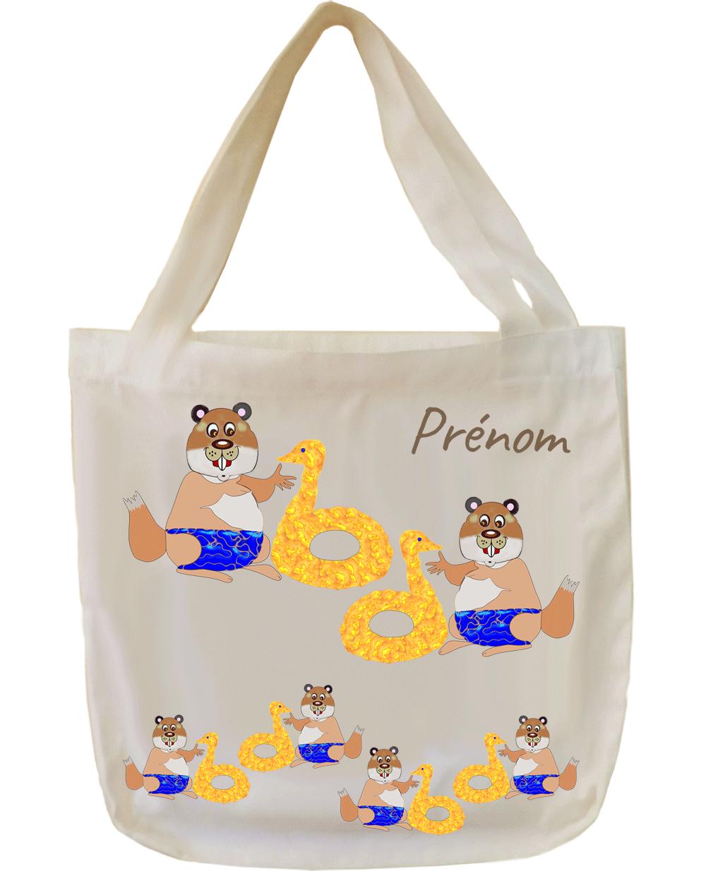 tote-bag;sac;cabas;texti;cadeaux;personnalisable;personnalisation;personnalise;prenom;animal;mer;marmotte;bouee;loisir