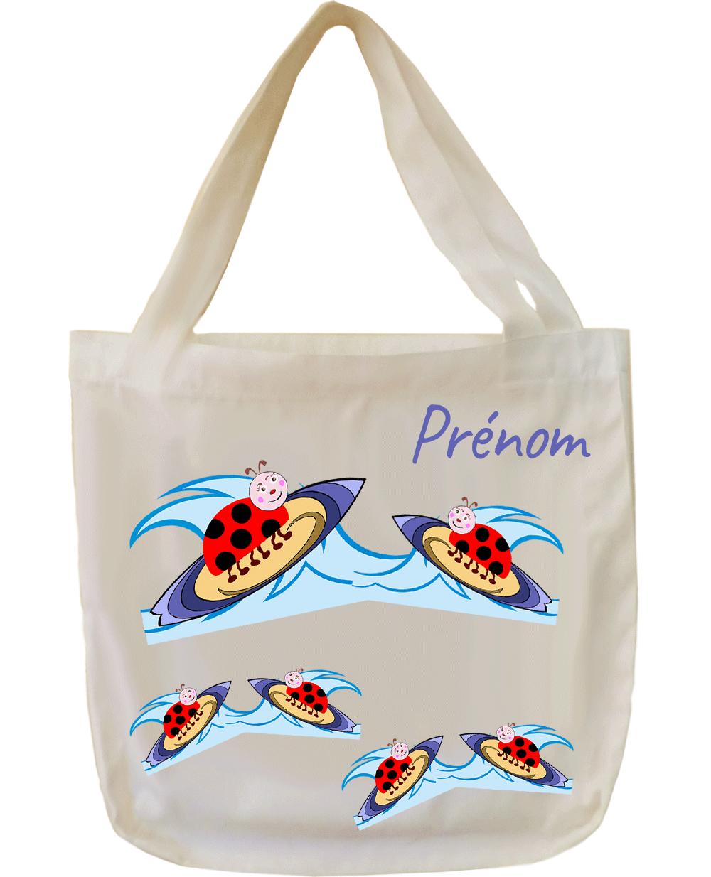 tote-bag;sac;cabas;texti;cadeaux;personnalisable;personnalisation;personnalise;prenom;animal;sport;coccinelle;surf;mer