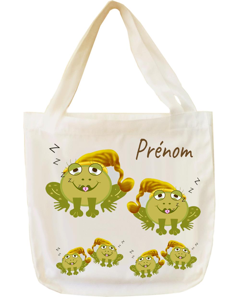 tote-bag;sac;cabas;texti;cadeaux;personnalisable;personnalisation;personnalise;prenom;animal;grenouille;bonnet;nuit