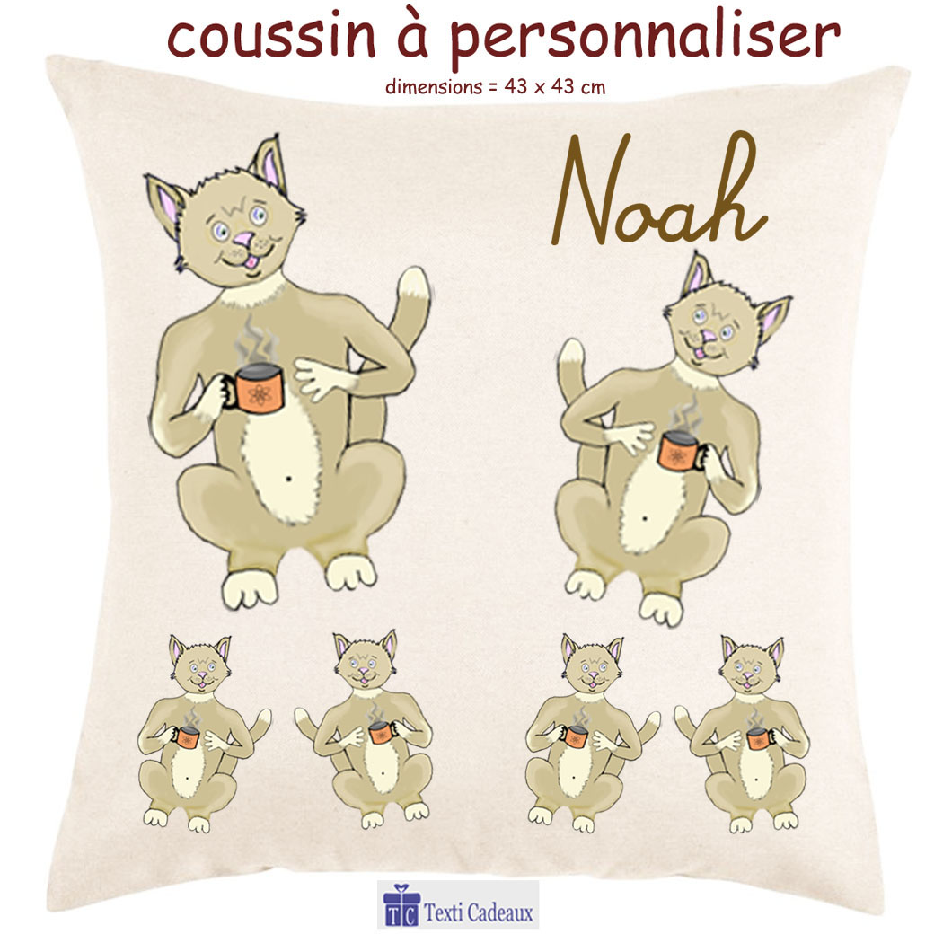 Coussin Chat tasse