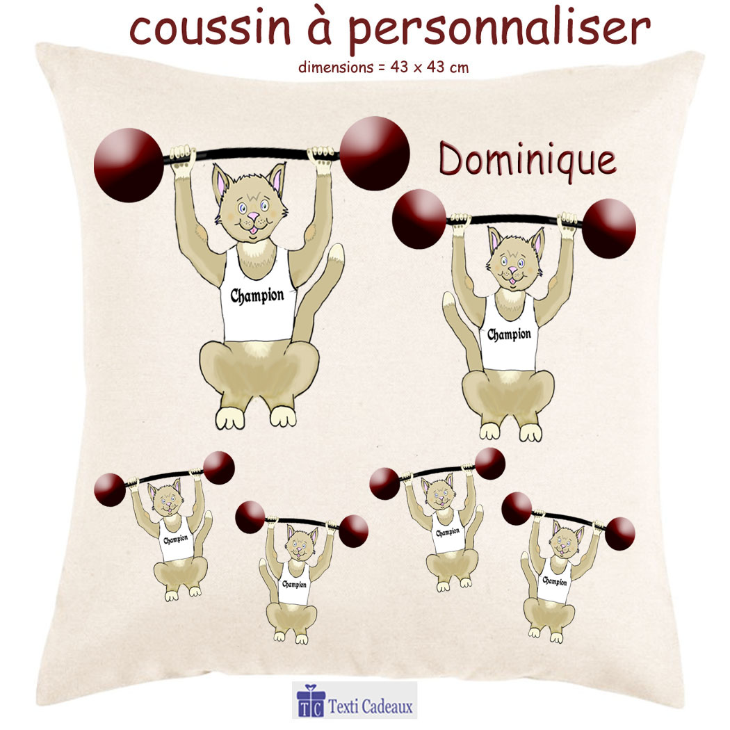 Coussin Chat Halterophile