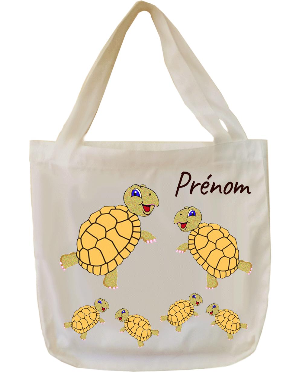 tote-bag;sac;cabas;texti;cadeaux;personnalisable;personnalisation;personnalise;prenom;animal;tortue