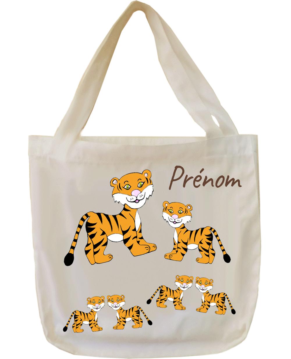 tote-bag;sac;cabas;texti;cadeaux;personnalisable;personnalisation;personnalise;prenom;animal;tigre