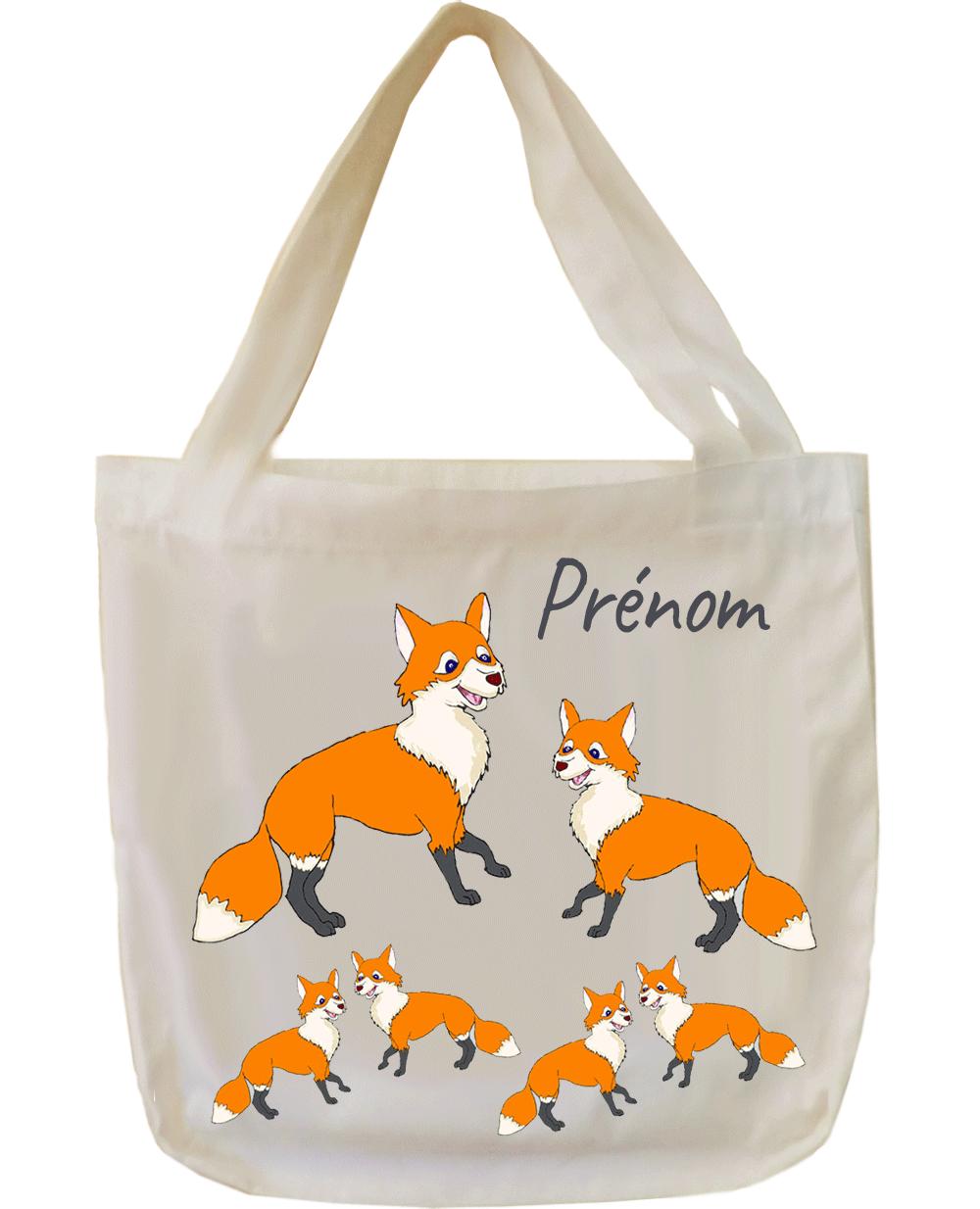 tote-bag;sac;cabas;texti;cadeaux;personnalisable;personnalisation;personnalise;prenom;animal;renard