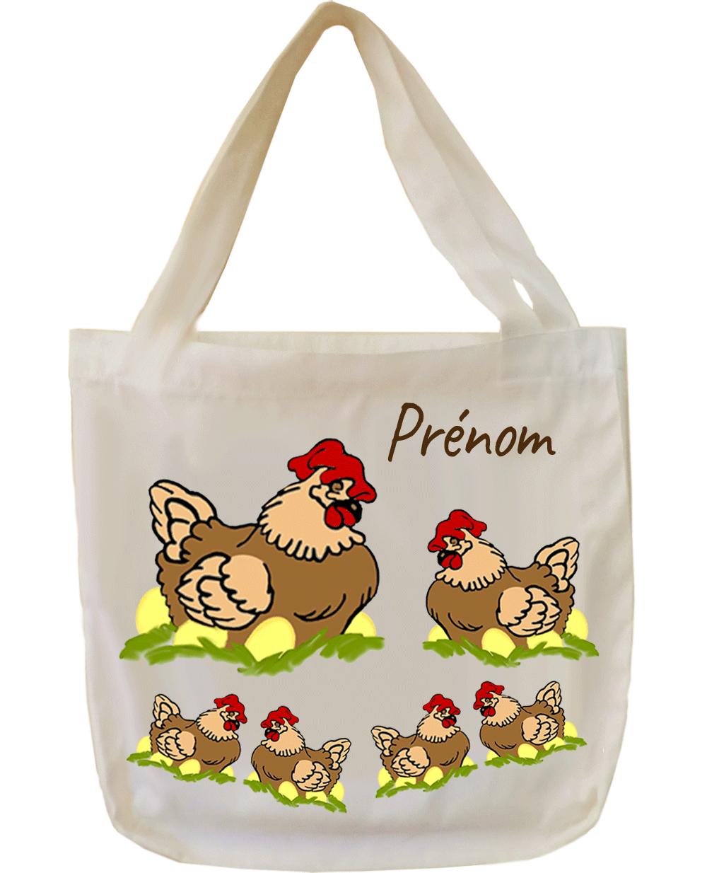 tote-bag;sac;cabas;texti;cadeaux;personnalisable;personnalisation;personnalise;prenom;animal;poule;oeufs