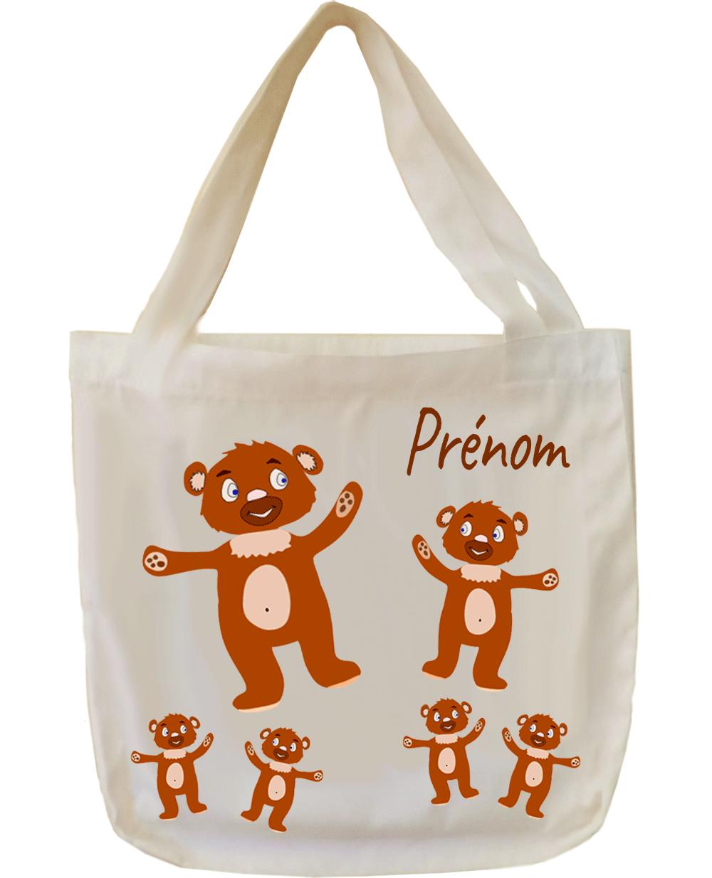 tote-bag;sac;cabas;texti;cadeaux;personnalisable;personnalisation;personnalise;prenom;animal;ours;nounours;doudou