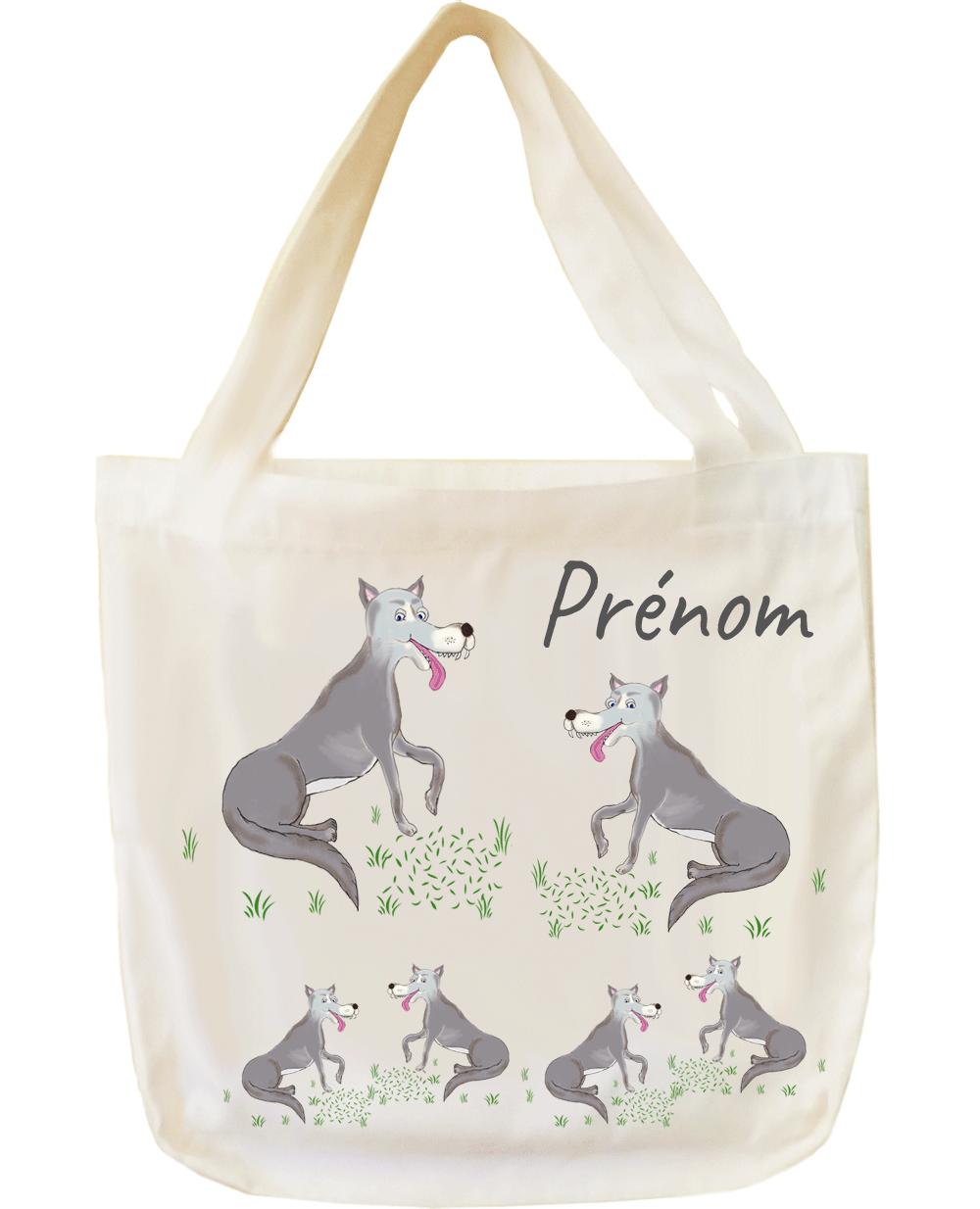 tote-bag;sac;cabas;texti;cadeaux;personnalisable;personnalisation;personnalise;prenom;animal;loup
