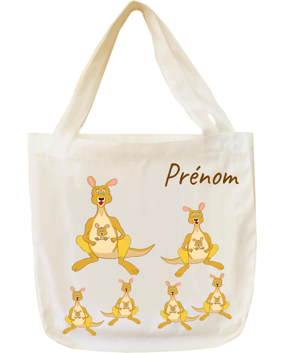 tote-bag;sac;cabas;texti;cadeaux;personnalisable;personnalisation;personnalise;prenom;animal;kangourou