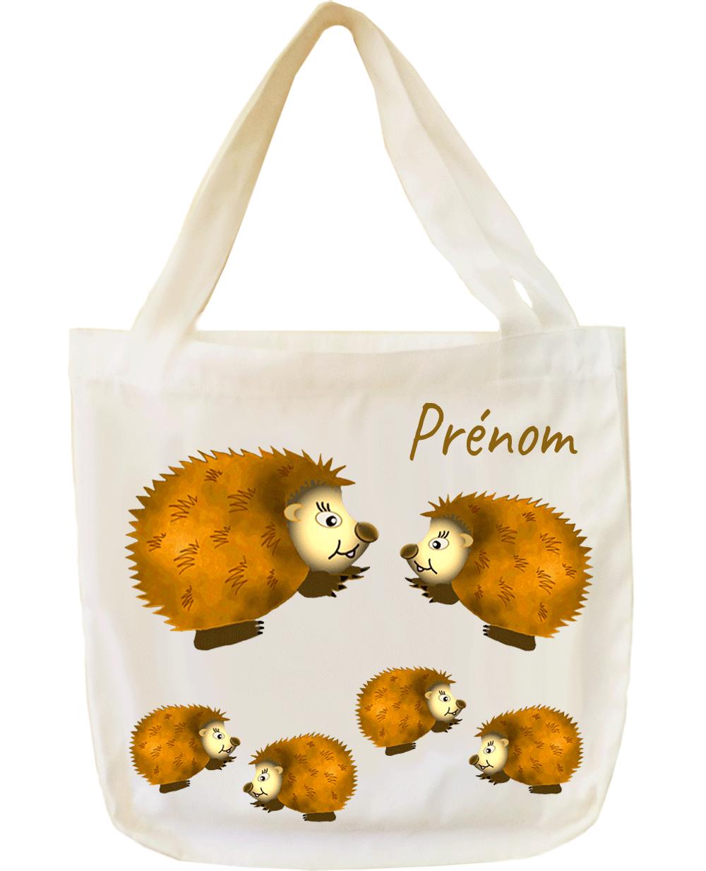tote-bag;sac;cabas;texti;cadeaux;personnalisable;personnalisation;personnalise;prenom;animal;herisson
