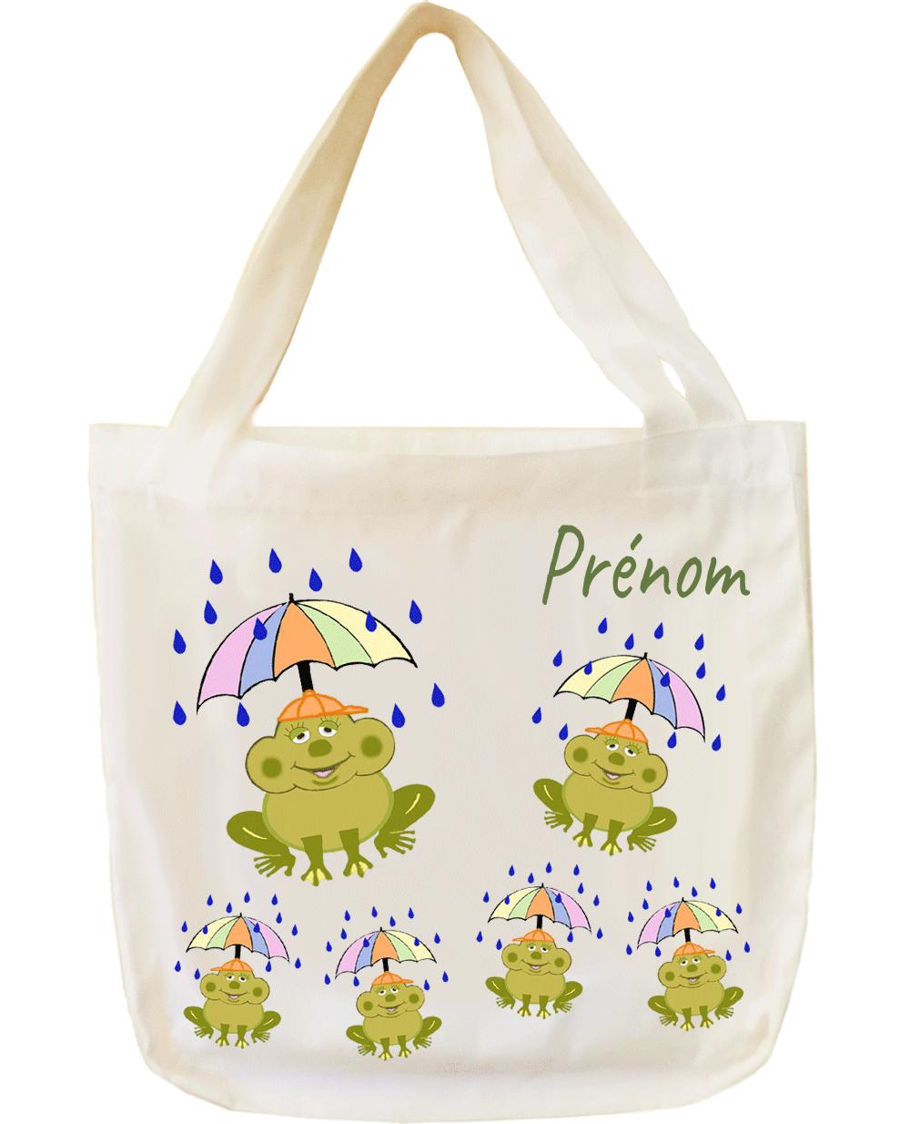 tote-bag;sac;cabas;texti;cadeaux;personnalisable;personnalisation;personnalise;prenom;animal;grenouille;parapluie