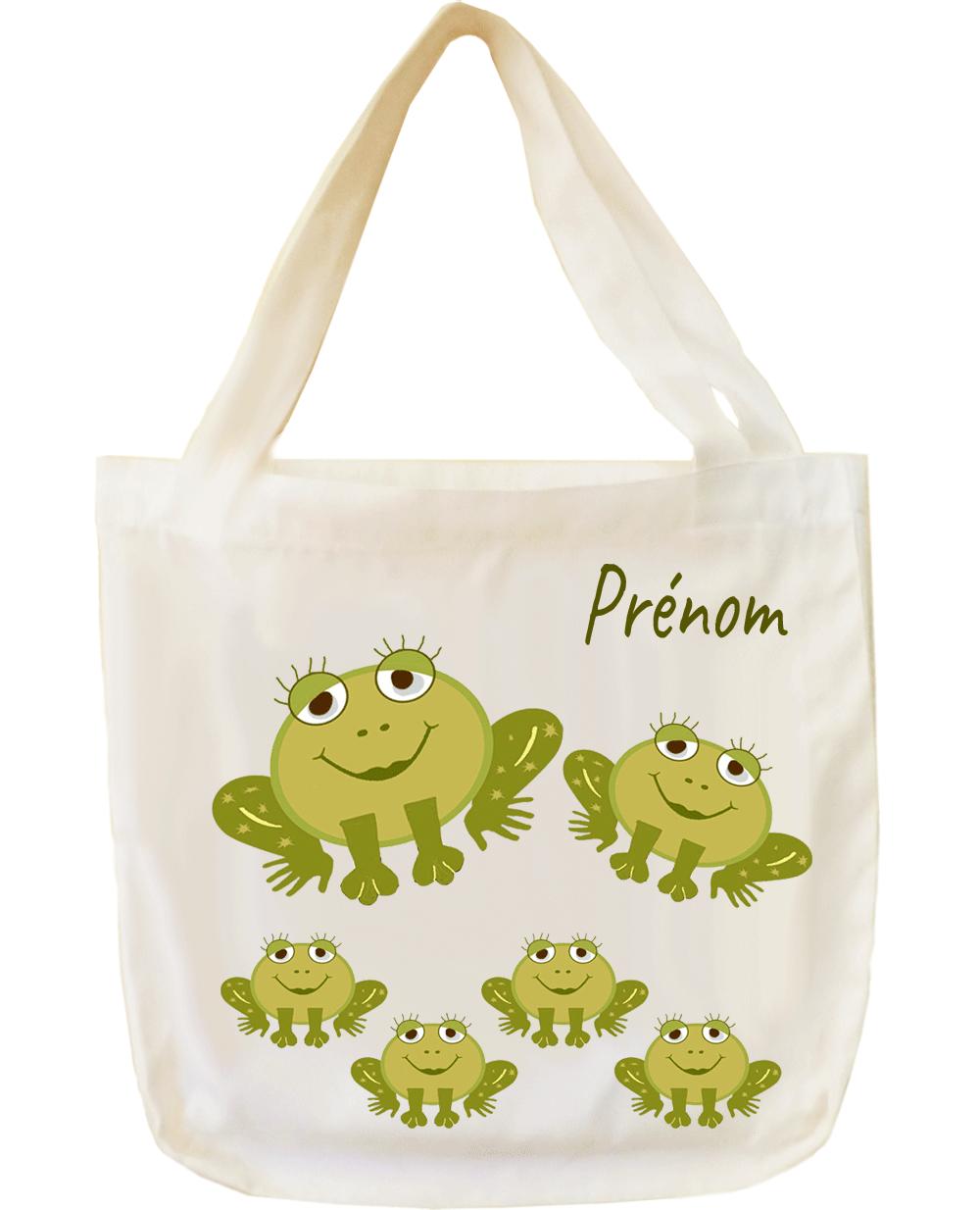tote-bag;sac;cabas;texti;cadeaux;personnalisable;personnalisation;personnalise;prenom;animal;grenouille