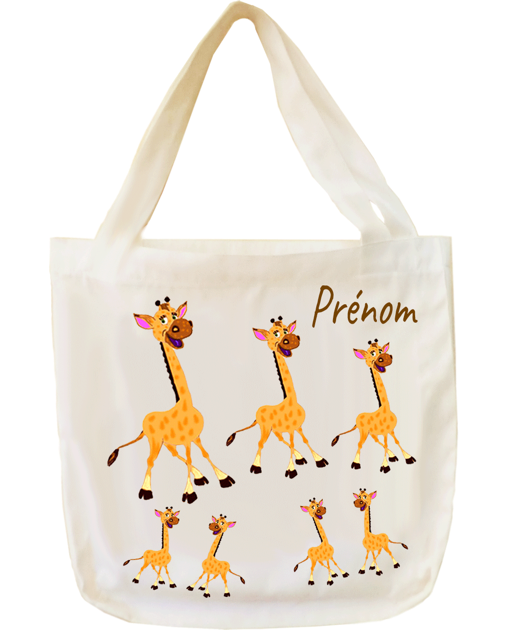 tote-bag;sac;cabas;texti;cadeaux;personnalisable;personnalisation;personnalise;prenom;animal;girafe
