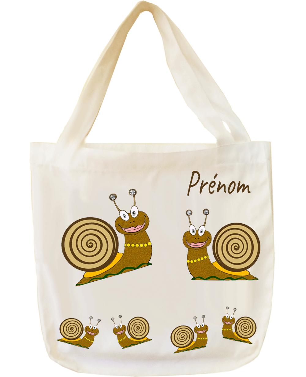 tote-bag;sac;cabas;texti;cadeaux;personnalisable;personnalisation;personnalise;prenom;animal;escargot