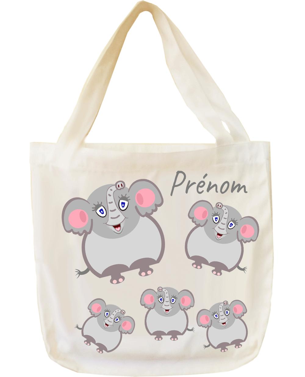 tote-bag;sac;cabas;texti;cadeaux;personnalisable;personnalisation;personnalise;prenom;animal;elephant
