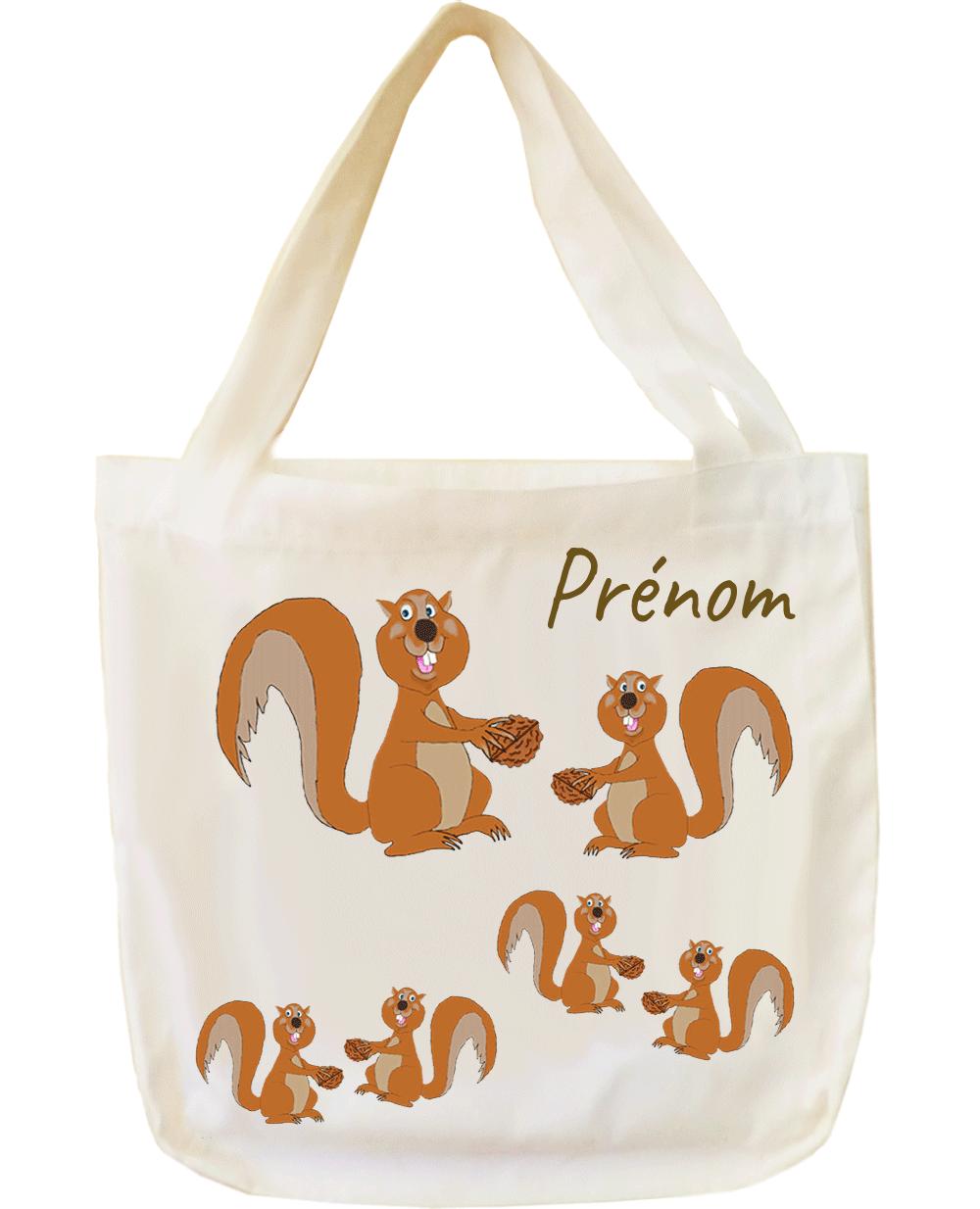 tote-bag;sac;cabas;texti;cadeaux;personnalisable;personnalisation;personnalise;prenom;animal;ecureuil;noix