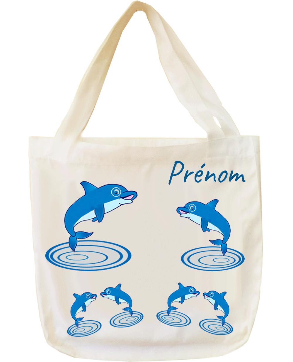 tote-bag;sac;cabas;texti;cadeaux;personnalisable;personnalisation;personnalise;prenom;animal;dauphin