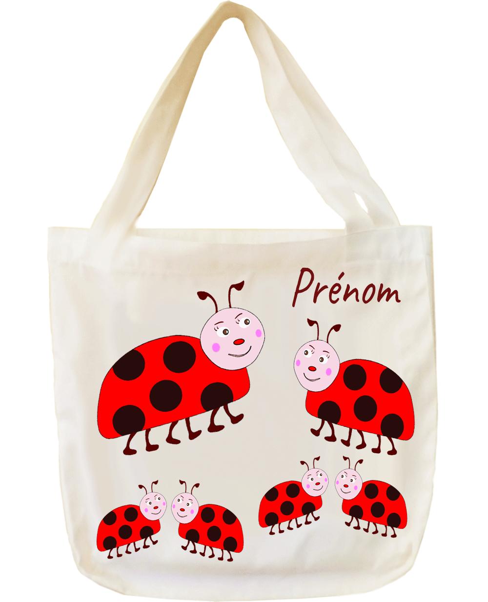 tote-bag;sac;cabas;texti;cadeaux;personnalisable;personnalisation;personnalise;prenom;animal;coccinelle