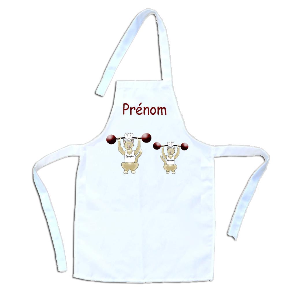 Tablier de cuisine enfant Chat Haltérophile personnalisable avec un Prénom exemple Dominique