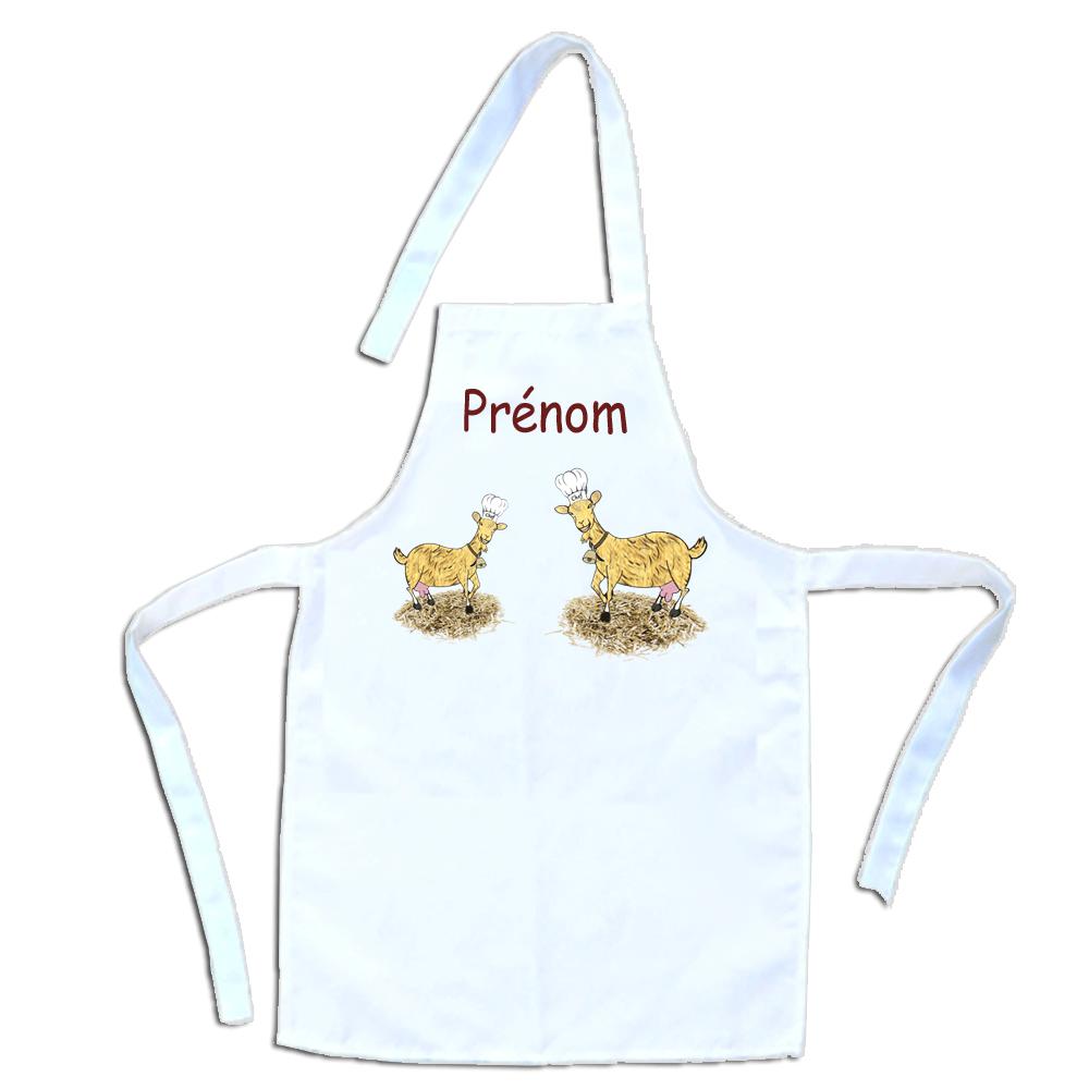 Tablier de cuisine enfant Chèvre personnalisable avec un Prénom exemple Blandine