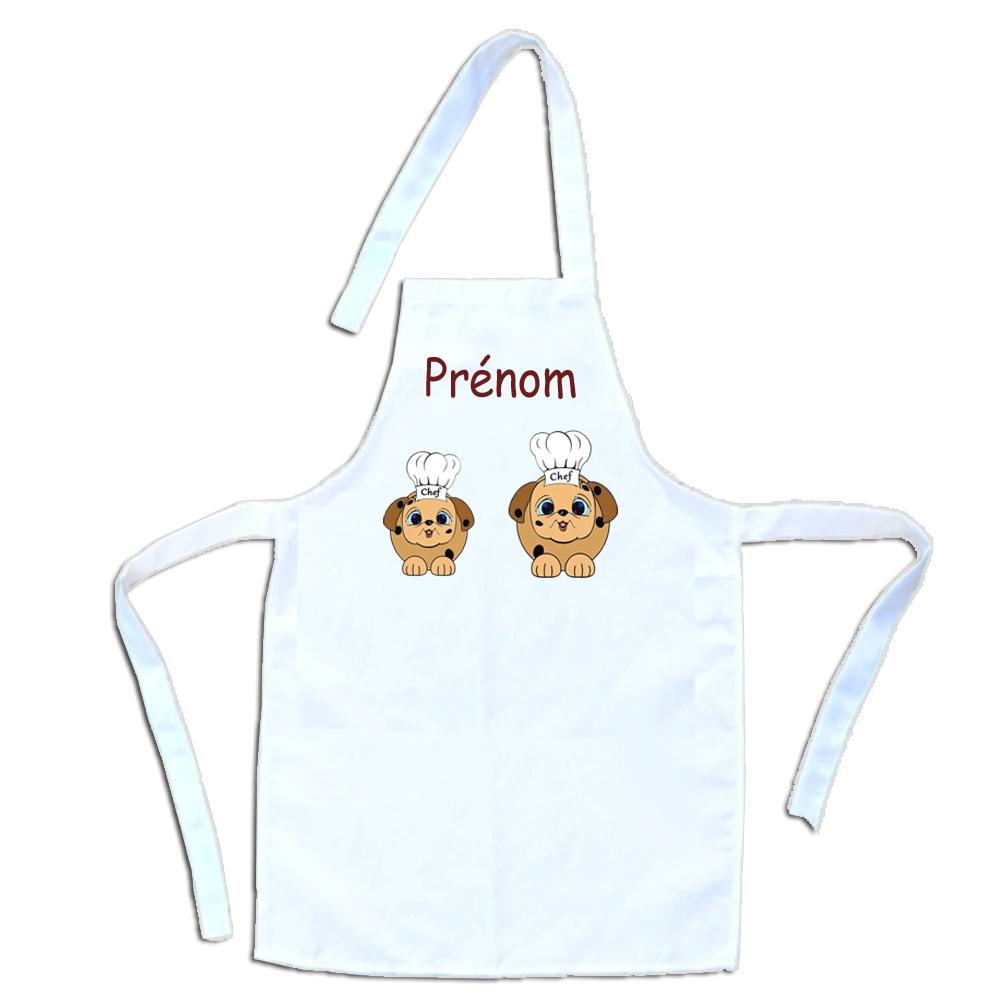 Tablier de cuisine enfant Chien personnalisable avec un Prénom exemple Corentin