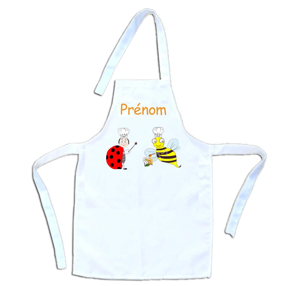 Tablier de cuisine enfant Coccinelle Abeille personnalisable avec un Prénom exemple Charline
