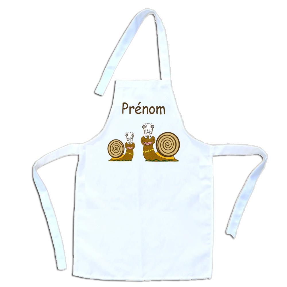 Tablier de cuisine enfant Escargot personnalisable avec un Prénom exemple Margot