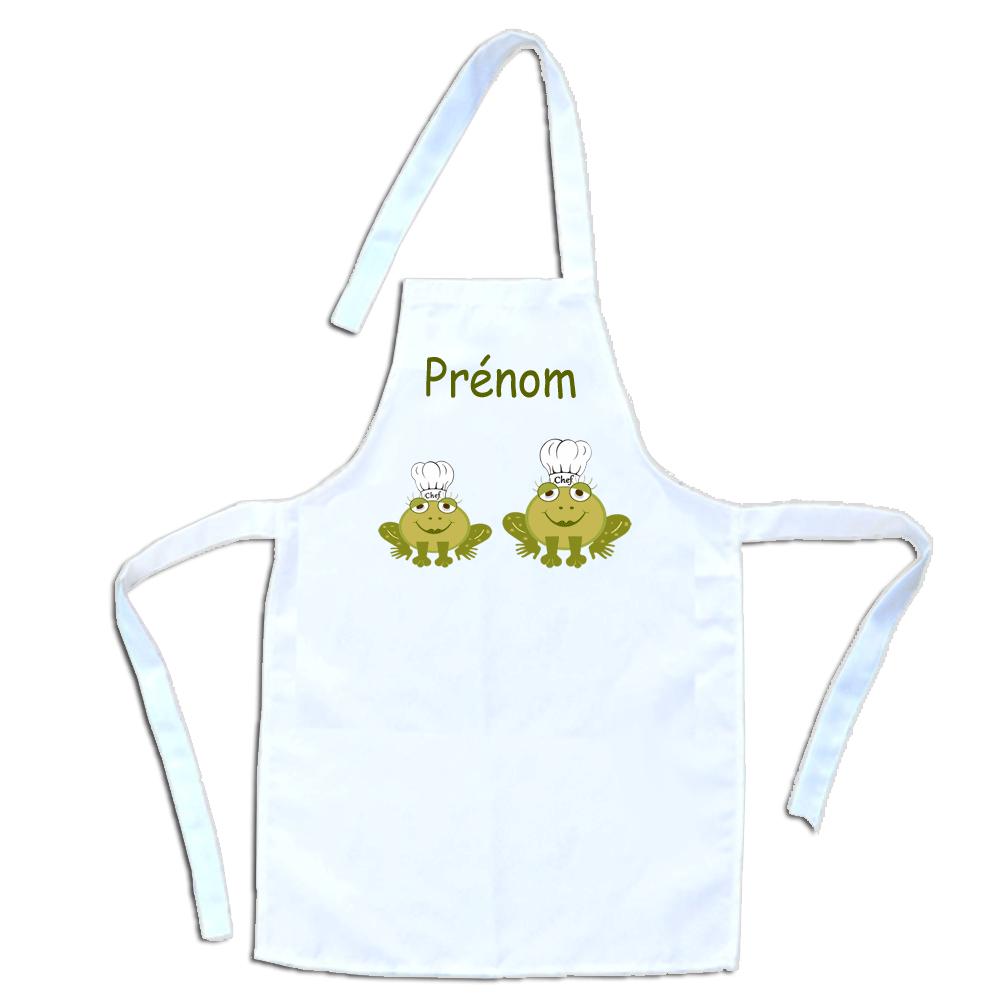 Tablier de cuisine enfant Grenouille personnalisable avec un Prénom exemple Sandrine