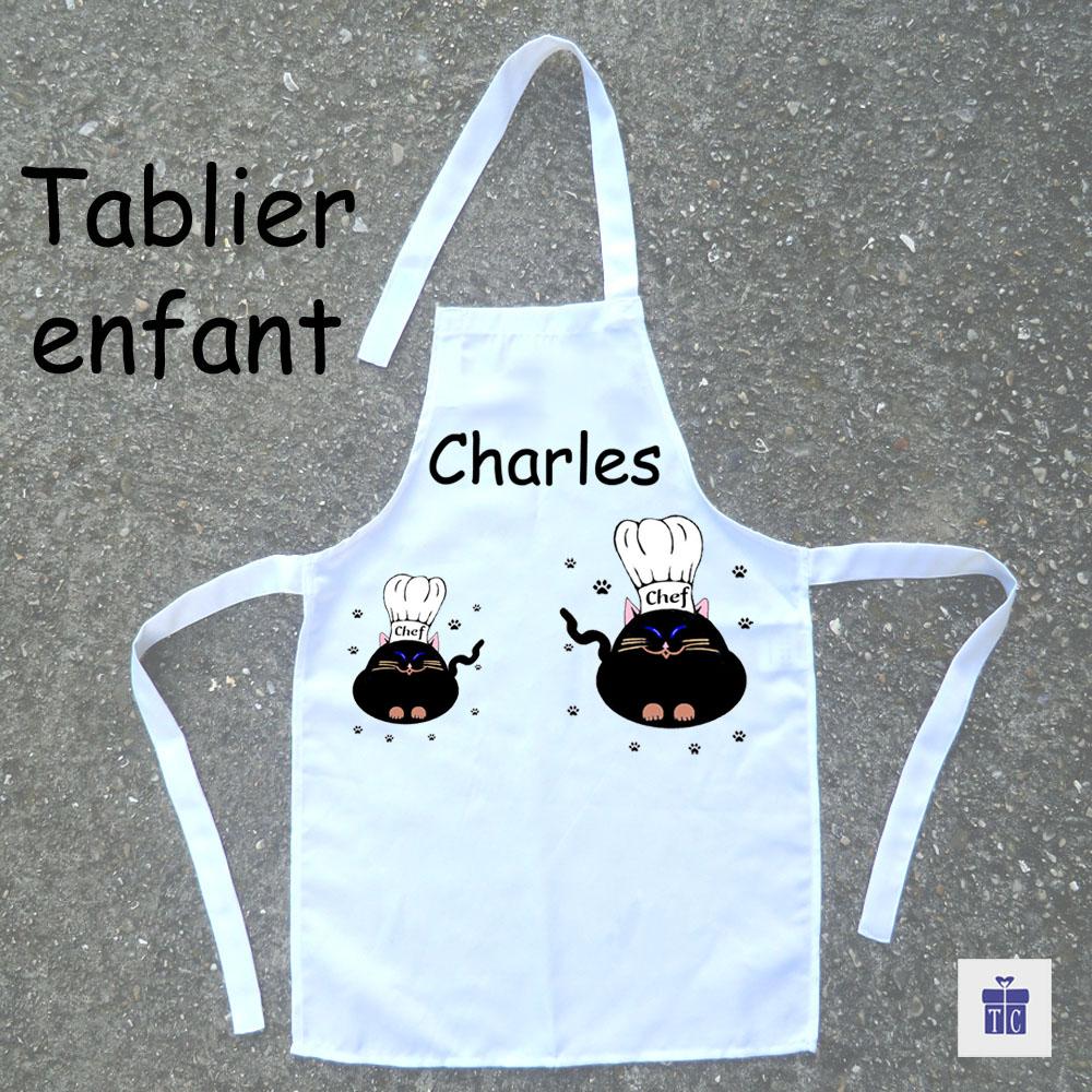 Tablier de cuisine enfant chat à personnaliser