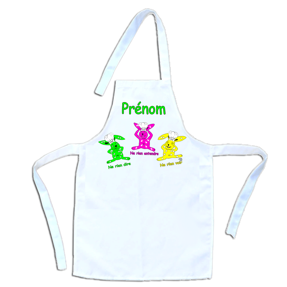 Tablier de cuisine enfant les trois Lapins personnalisable avec un Prénom exemple Hugo