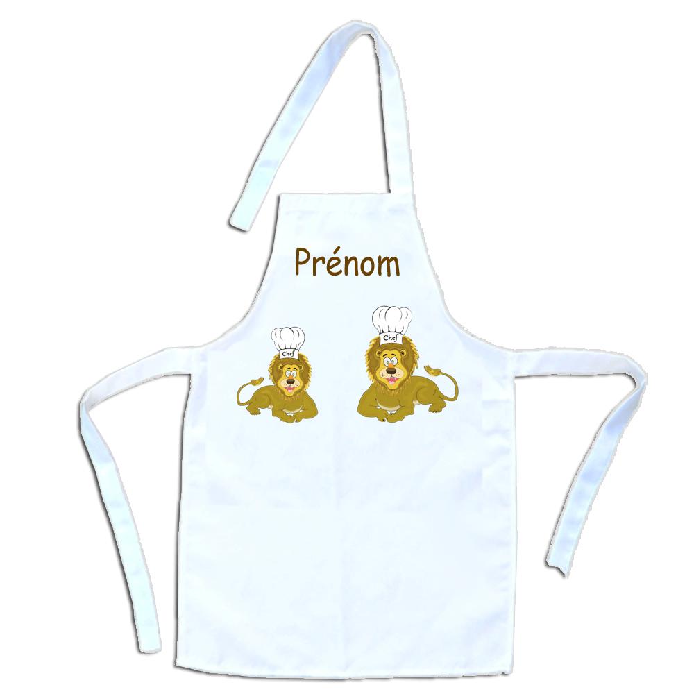 Tablier de cuisine enfant Lion personnalisable avec un Prénom exemple Léopold