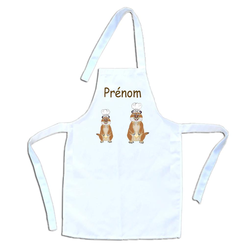 Tablier de cuisine enfant Marmotte personnalisable avec un Prénom exemple Charlotte