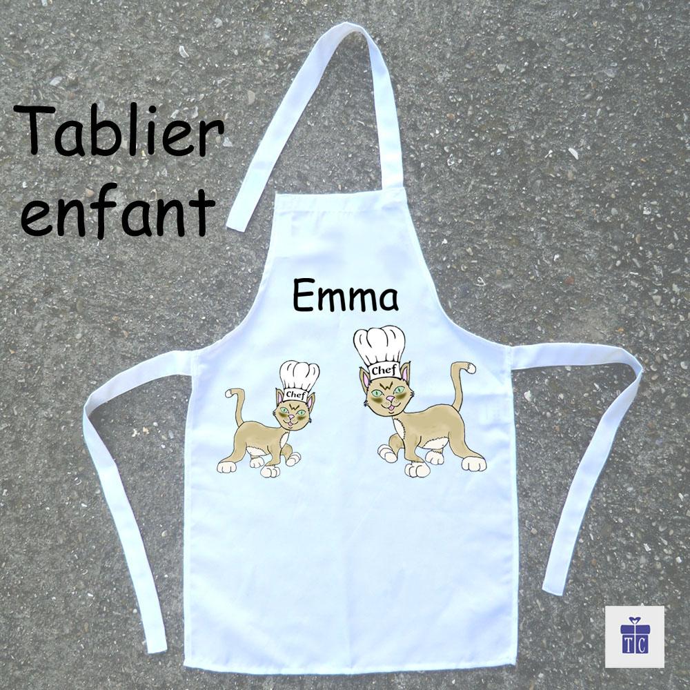 Tablier de cuisine enfant chat Emma à personnaliser