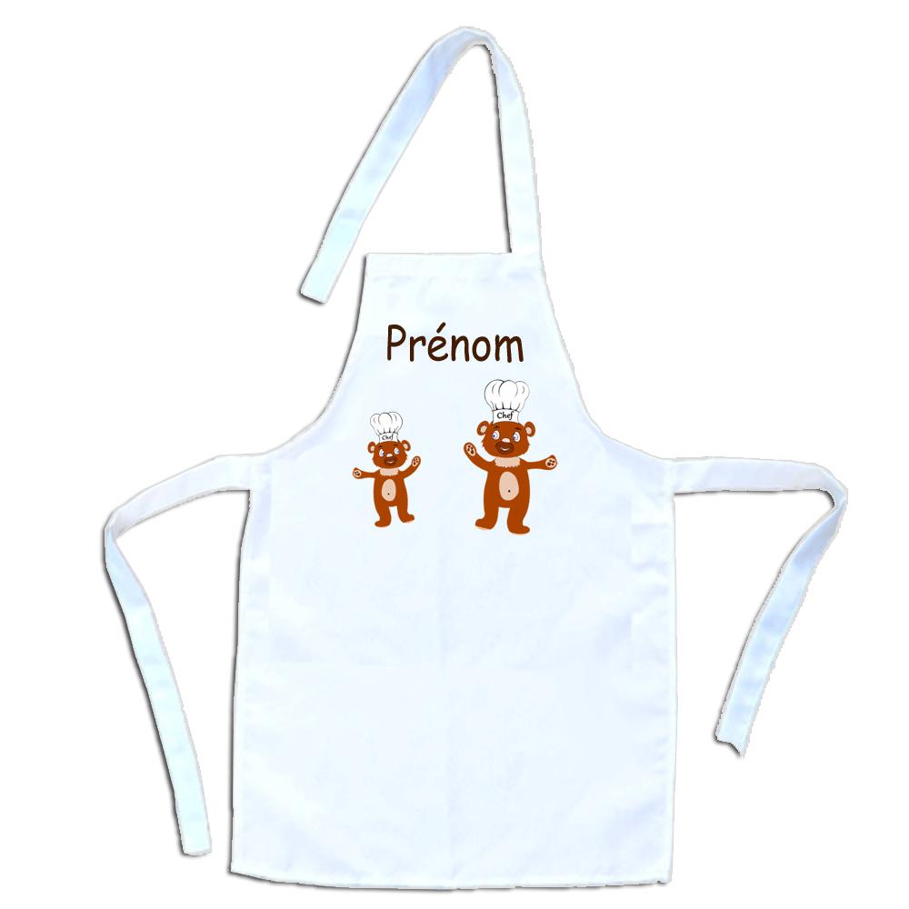 Tablier de cuisine enfant Nounours personnalisable avec un Prénom exemple Teddy