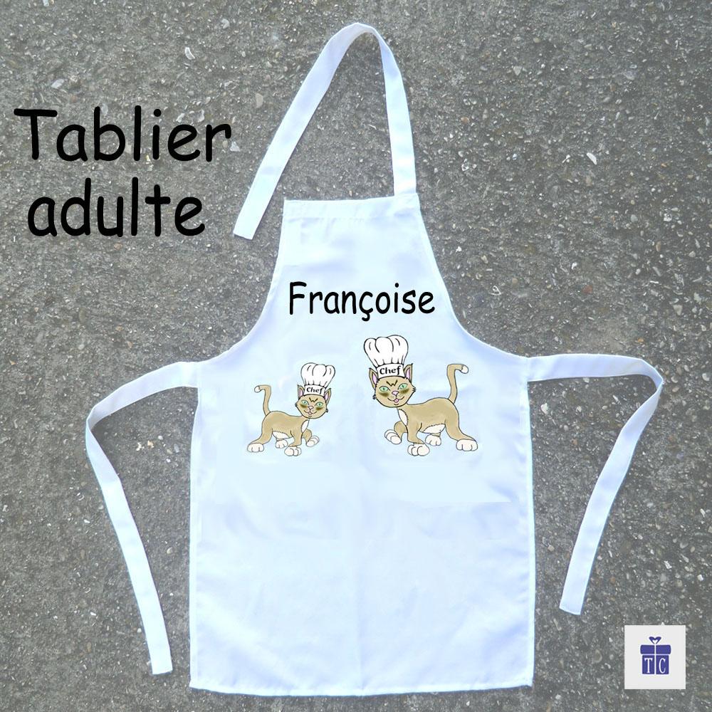 Tablier cuisine adulte Chat françoise à personnaliser