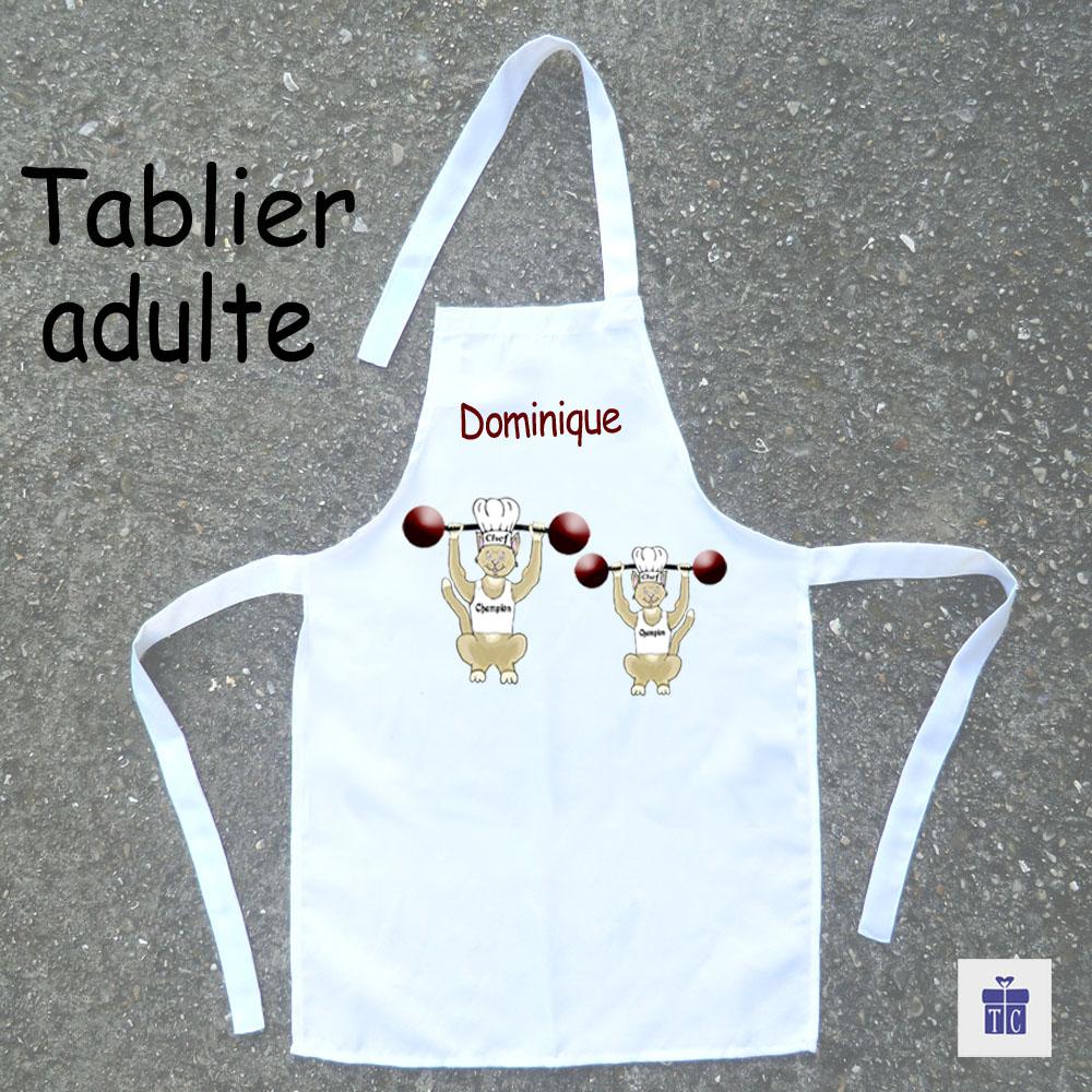Tablier cuisine adulte Chat Haltérophile à personnaliser