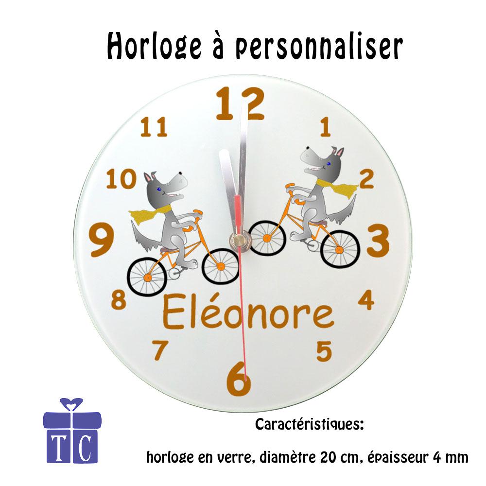Horloge Chien vélo à personnaliser