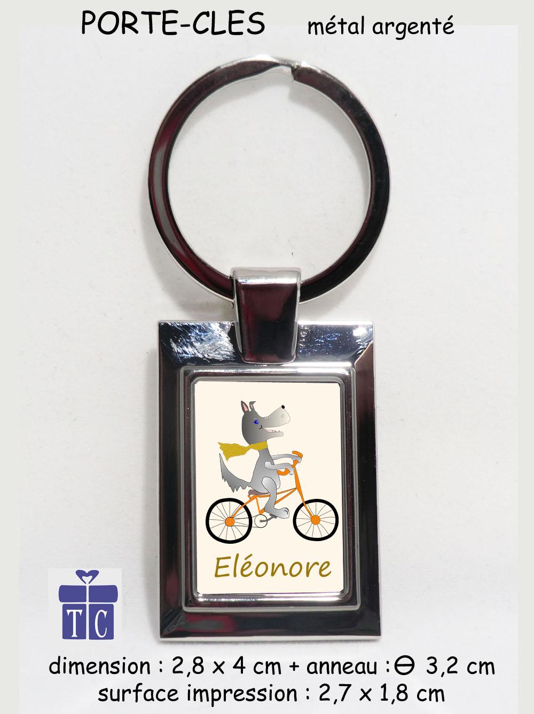 Porte clés Chien à vélo à personnaliser