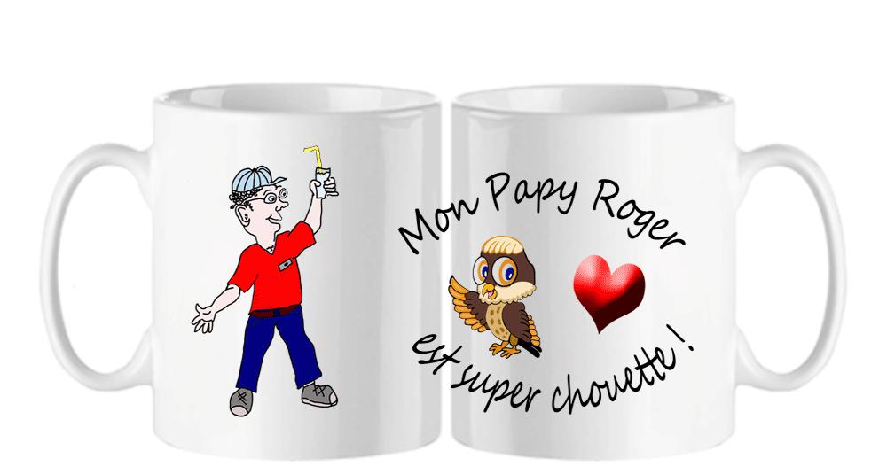 mug;blanc;ceramique;personnalise;personnalisable;personnalisation;coeur;chouette;famille;amour;grand-pere;papy;tres-chouette;prenom;Roger