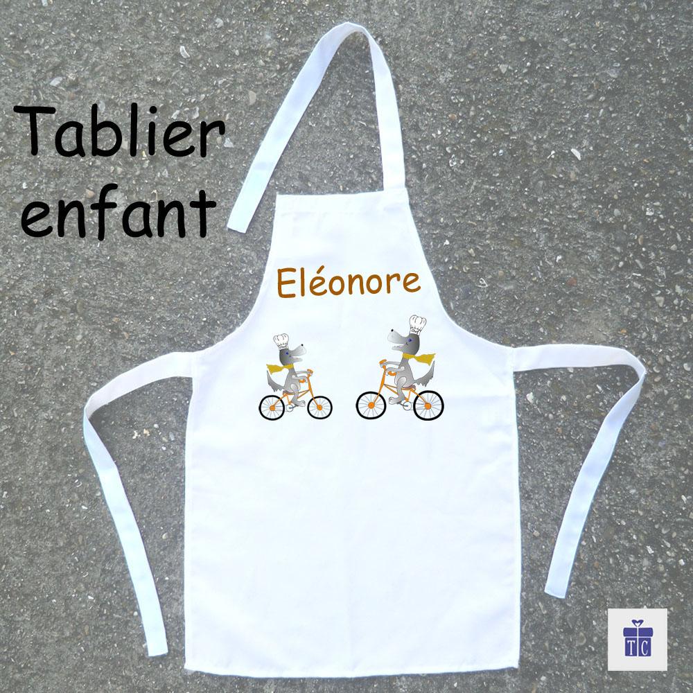 Tablier de cuisine enfant Chien à Vélo à personnaliser